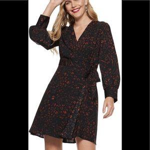 Nine West Women's Animal Print Wrap Dress Size L